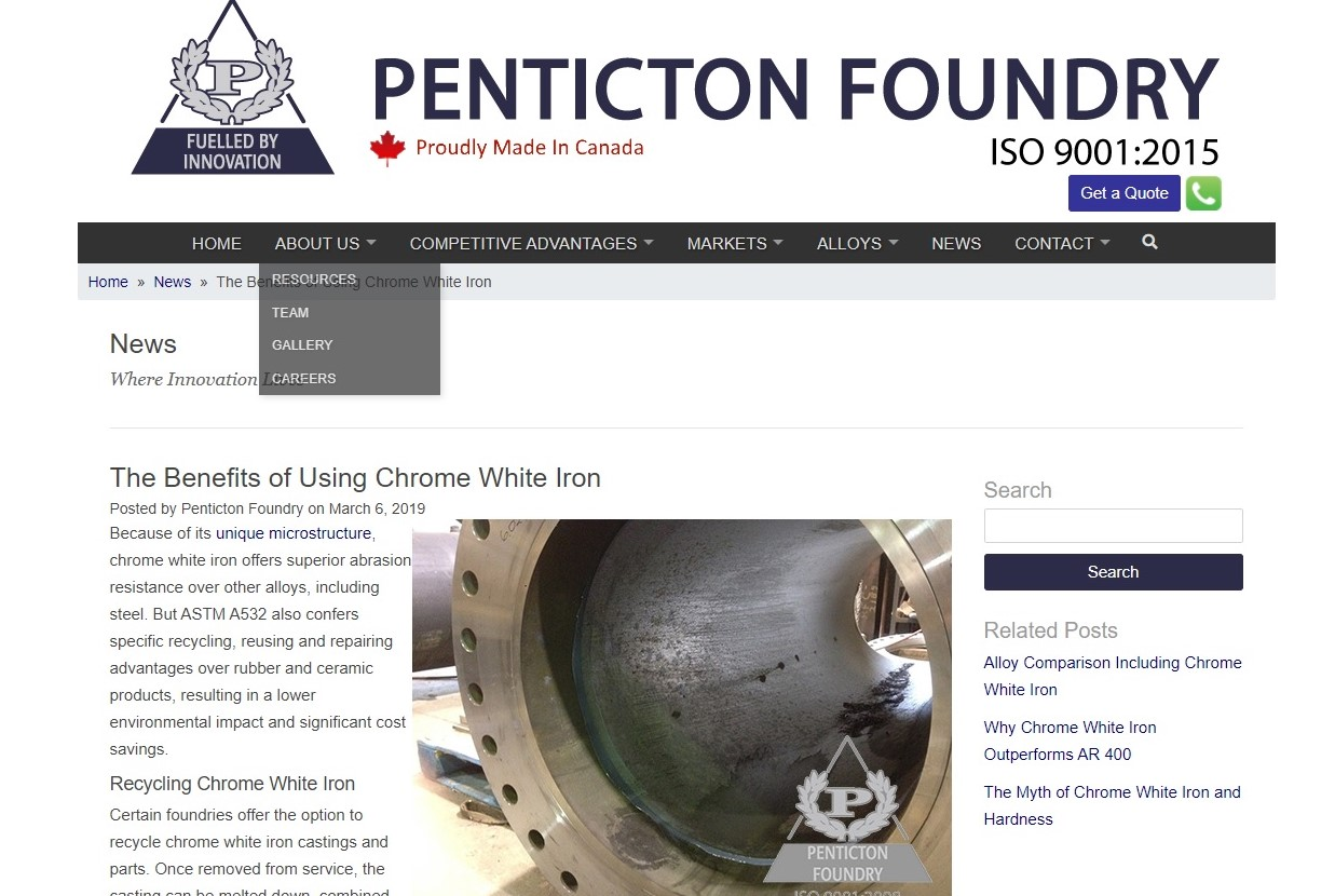 https://www.pentictonfoundry.com/news/benefits-of-using-chrome-white-iron/