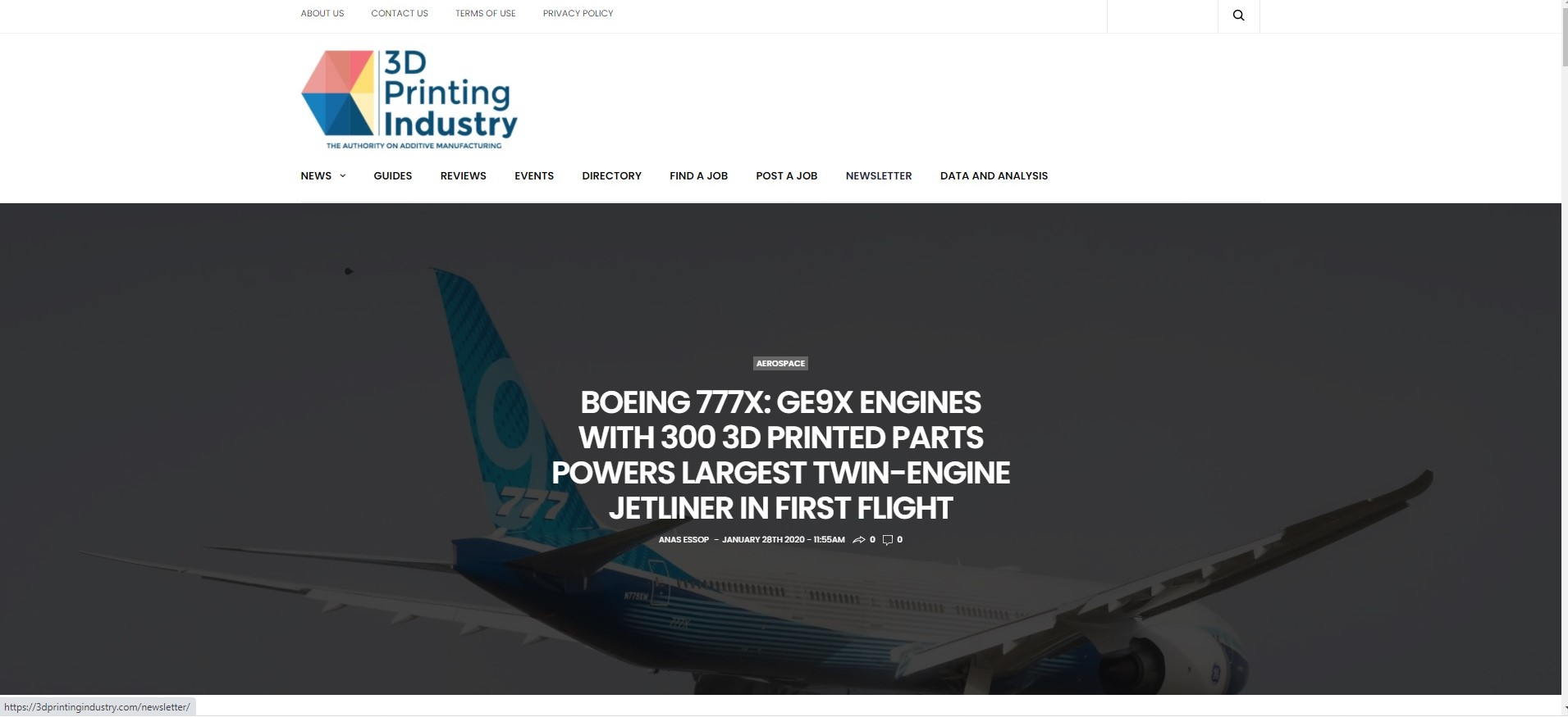 https://3dprintingindustry.com/news/boeing-77x-ge9x-engines-with-300-3d-printed-parts-powers-largest-twin-engine-jetliner-in-first-flight-167793/